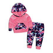 Baby Girl 2pcs Set Outfit Flower Print Hoodies with Pocket Top+Striped Long Pants (6-12M, Watermelon Red)