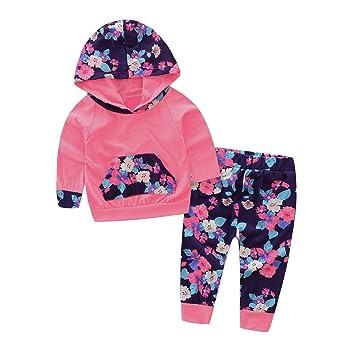d38b7e532b7c4 新生児 幼児 女の子 秋冬 トレーナー フラワー ロングパンツ 上下二点セット ローズ 0-24