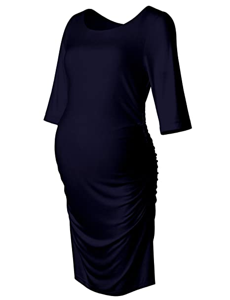 Maternity Dress 34 Long Sleeve Ruched Fitted Bodycon Belly Midi
