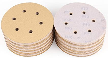 Utoolmart 6 Inch Adhesive Back Sandpaper No Hole Aluminum Oxide Circular Sanding Disc 80 Grit for Electric Grinder 5pcs