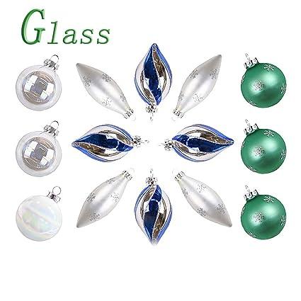 Valery Madelyn 14 pieazas Bolas de Navidad de Cristal, Platas Azules y Verdes, Brillante y Mate Bolas Adornos de Navidad para Árbol en Forma con Nieve ...