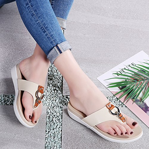 Leather Sandals Platform 1526 Vamp Open Comfort Gold Women Cloud Toe Beige Shoes awSq1ntZ