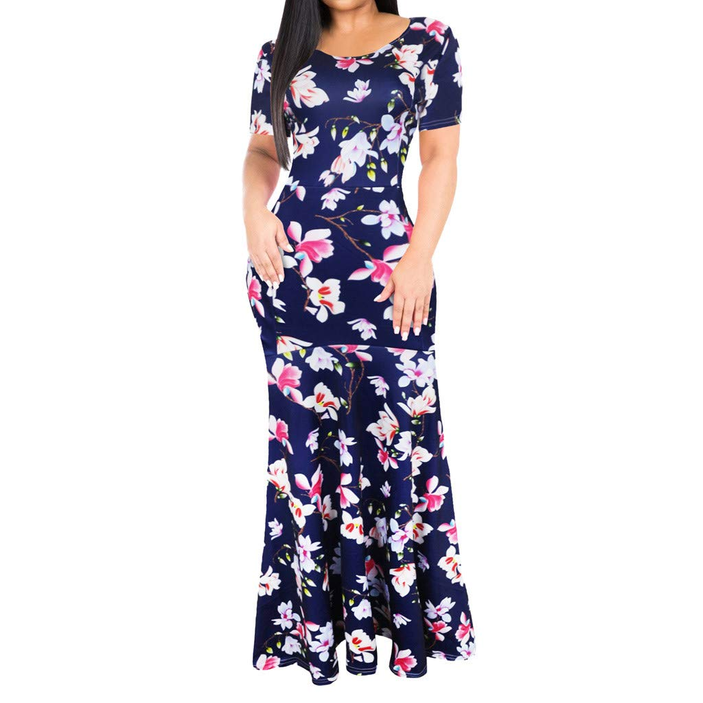 Giulot Women's Vintage Plus Size Floral Printed Maxi Dress Boho Pleated Swing Hawaii Beach Sundress Evening Gowns Blue by Giulot