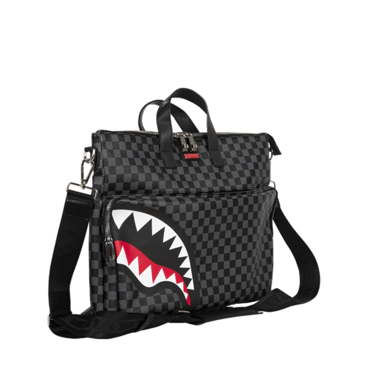 Sprayground Sharks in Paris Black Grey Checker Travel Festival Bag by Sprayground (Image #2)
