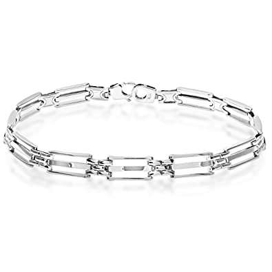 Citerna 5 Row Rectangle Gate and Brick Link Panther Sterling Silver Bracelet of Length 19.5 cm mRzYQ