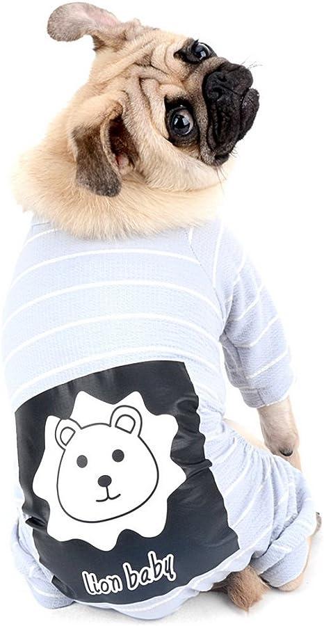 Zunea Pijamas para perro, lindo pijama de 4 patas, de algodón suave, ropa de cachorro, ropa para dormir, para perros pequeños (gris, S)