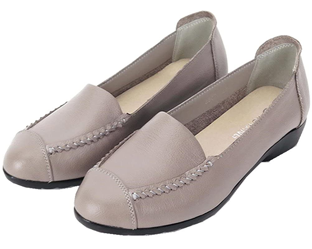 FENIKUSU Womens New Handmade Moccasins Leather Loafer Flats Shoes