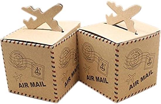 C.X.Y. - Cajas cúbicas porta confites, marcadores de posición, diseño Air Mail con avión, tema: viajes por el mundo, 50 unidades: Amazon.es: Juguetes y juegos