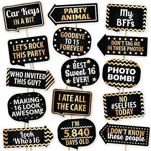 Sweet 16 Photo Booth Props By PartyGraphix - European Made 16th Birthday Party Supplies - Sweet 16 Party Decorations - Easy To Assemble Selfie Props Birthday Kit Includes 15 Pieces]()