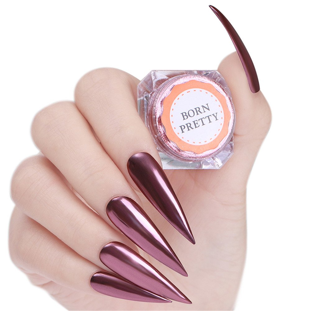 Born Pretty 0.5g Nail Art Rose Gold Glitter Powder Mirror Pigment Ultra Thin Chrome Dust for Manicure and Makeup