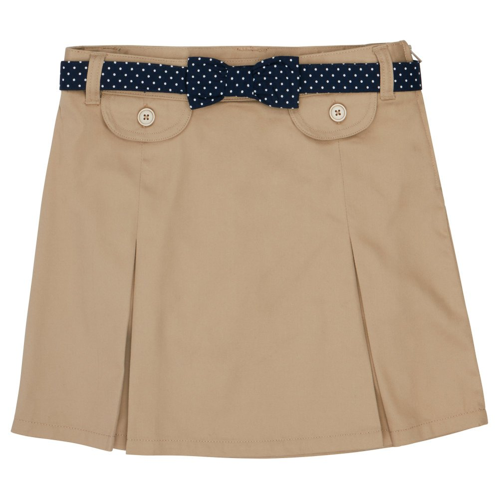French Toast Big Girls' Polka Dot Belted Scooter, Khaki, 7 by French Toast (Image #1)