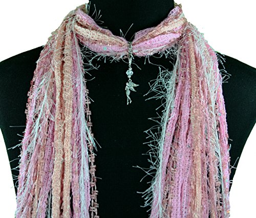Fairy Pendant Necklace Scarf with Crystal Wings ~ Multiple Scarf Colors Available
