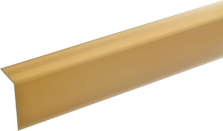 170cm bronze dunkel * Rutschhemmend * Robust * Leichte Montage acerto 51147 Aluminium Treppenwinkel-Profil Treppenstufen-Profil aus Alu Selbstklebende Treppenkante 52x30mm Treppenkanten-Profil