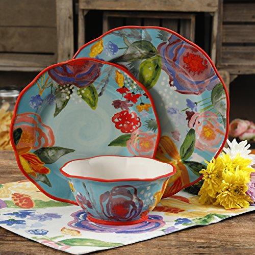 Blue Plate Country Salad (The Pioneer Woman Celia Aqua 12-Piece Dinnerware Set, Aqua)