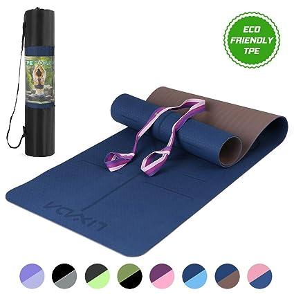 Lixada Esterilla de Yoga Antideslizante TPE Ligero con Línea Corporal Materiales Ecológicos para Pilates Yoga Fitness 183x61cm