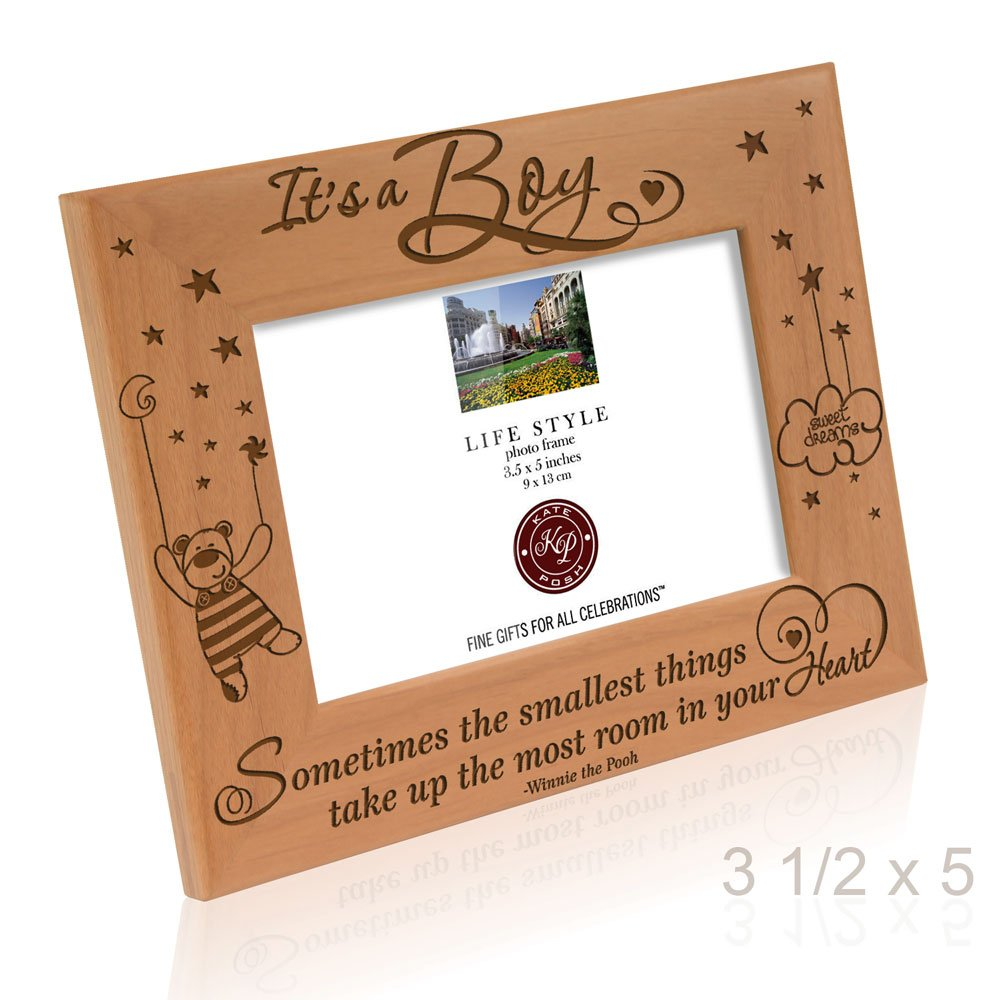 Kate Posh Sometimes the smallest things take up the most room in your heart - Winnie the Pooh Sonogram Picture Frame (3 1/2 x 5 Horizontal - It's a Boy) by Kate Posh (Image #4)