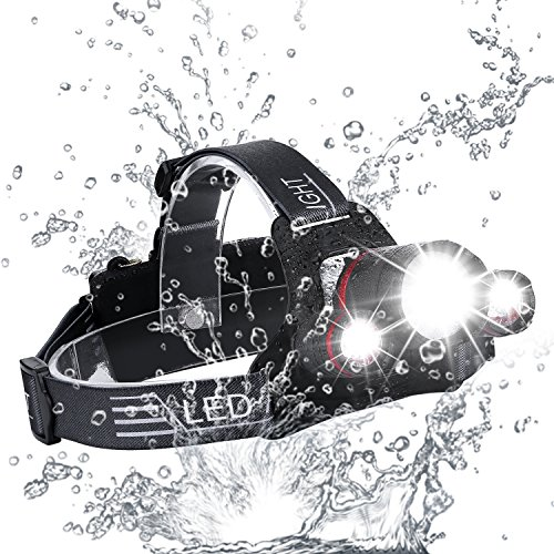 Zukvye LED Head Torch, Super Bright 5000 Lumens Rechargeable Headlamp, 4...