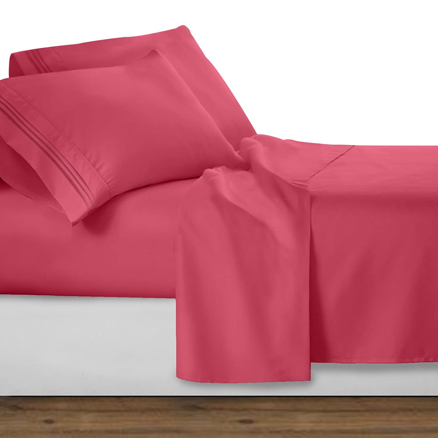 Clara Clark Premier 1800 Collection Deluxe Microfiber 3-Line Bed Sheet Set, Queen, Coral Pink