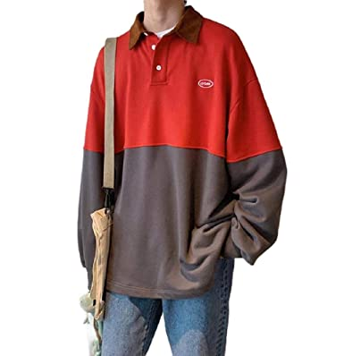 Anopad Mens Embroidered Long Sleeve Sweatshirt Top Baggy Pullover ...
