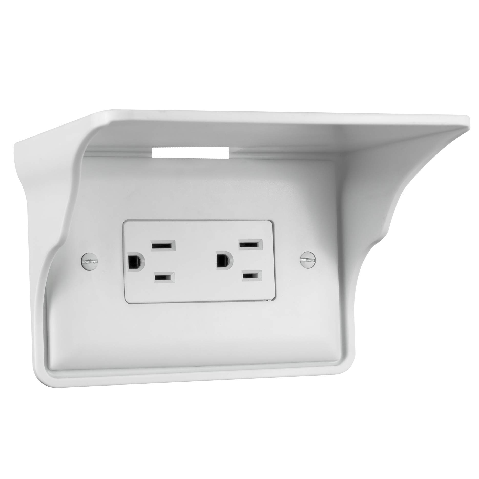Storage Theory | Horizontal Outlet Power Perch | Ultimate Outlet Shelf | Easy Installation, No Additional Hardware Required | Holds Up to 10lbs | White Color | Single Shelf