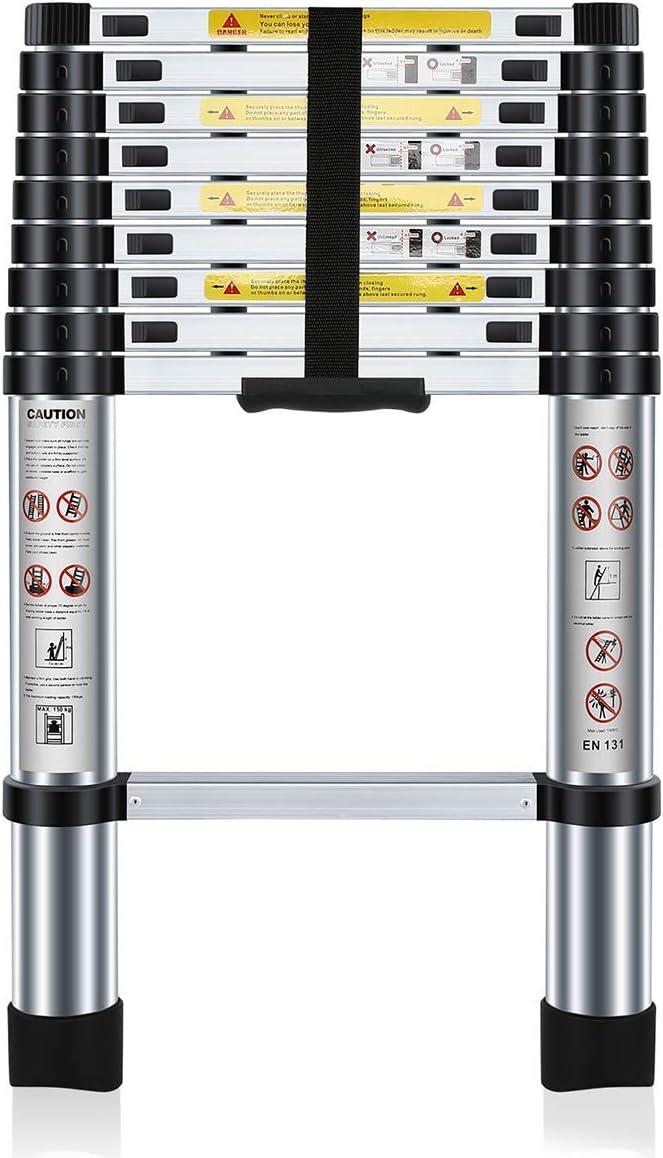 Nestling® 2.9M Escalera Telescópica Multiusos de Aluminio Portátil. Extensión Plegable y Extensible EN131, Carga Máxima 150 kg