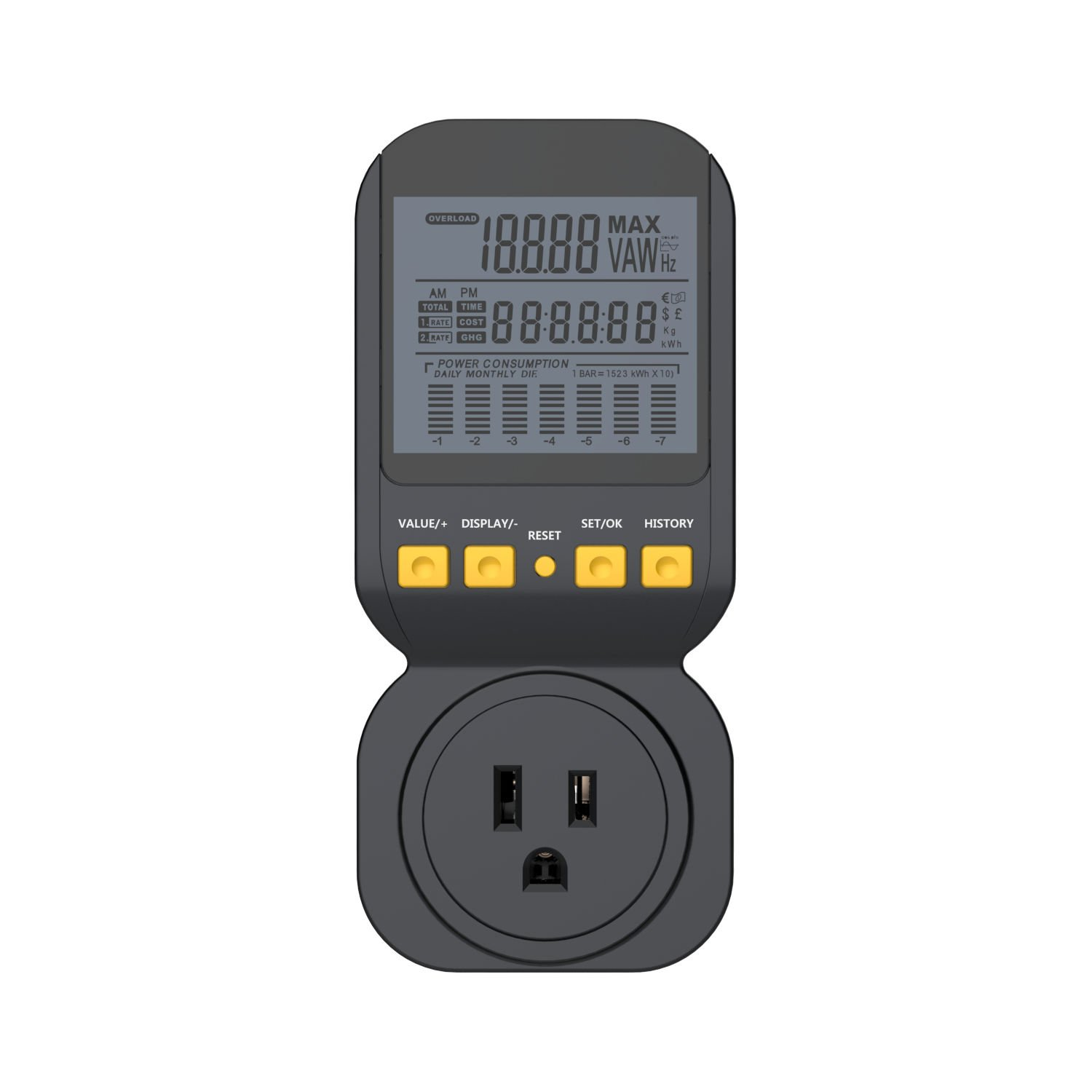 Electricity Usage Monitor by Spartan Power Energy Watt Meter with 15A Outlet, 1800 Watt Maximum SP-PM120