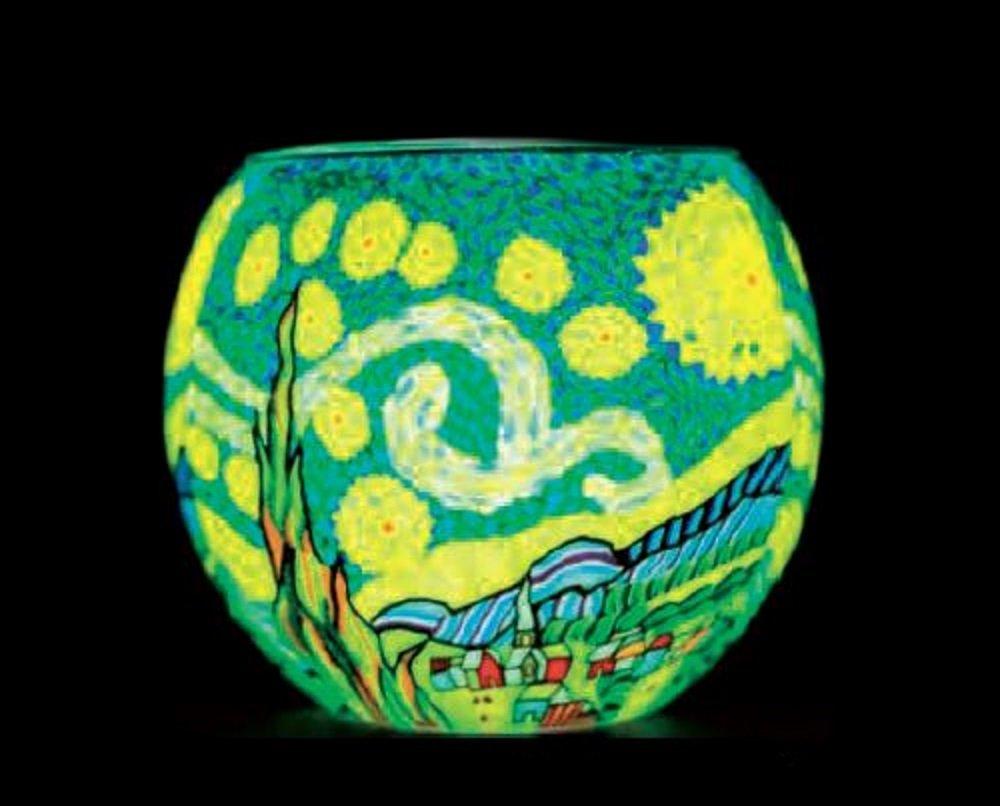 benaya portavelas en forma de la noche estrellada de Van Gogh Benaya Art Ceramics