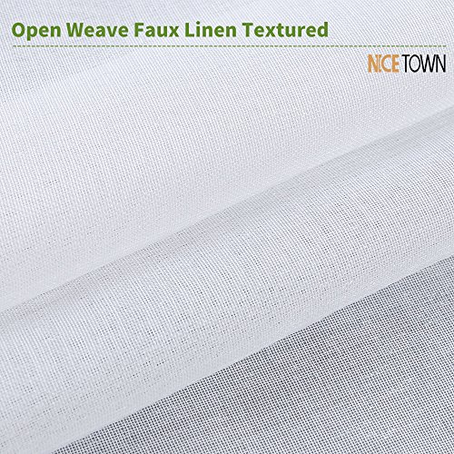 NICETOWN Sheer Curtains Linen Textured - Country Style Home Decor Bedroom Window Privacy Translucent Voile Sheer Drapes for Kid Room, 63 Inch Long, White by NICETOWN (Image #5)