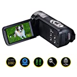 Camcorder Video Camera Full HD 1080p 24.0MP Digital Camera 3.0 Inch 270 Degree Rotatable Screen Video Recorder Pause Function…