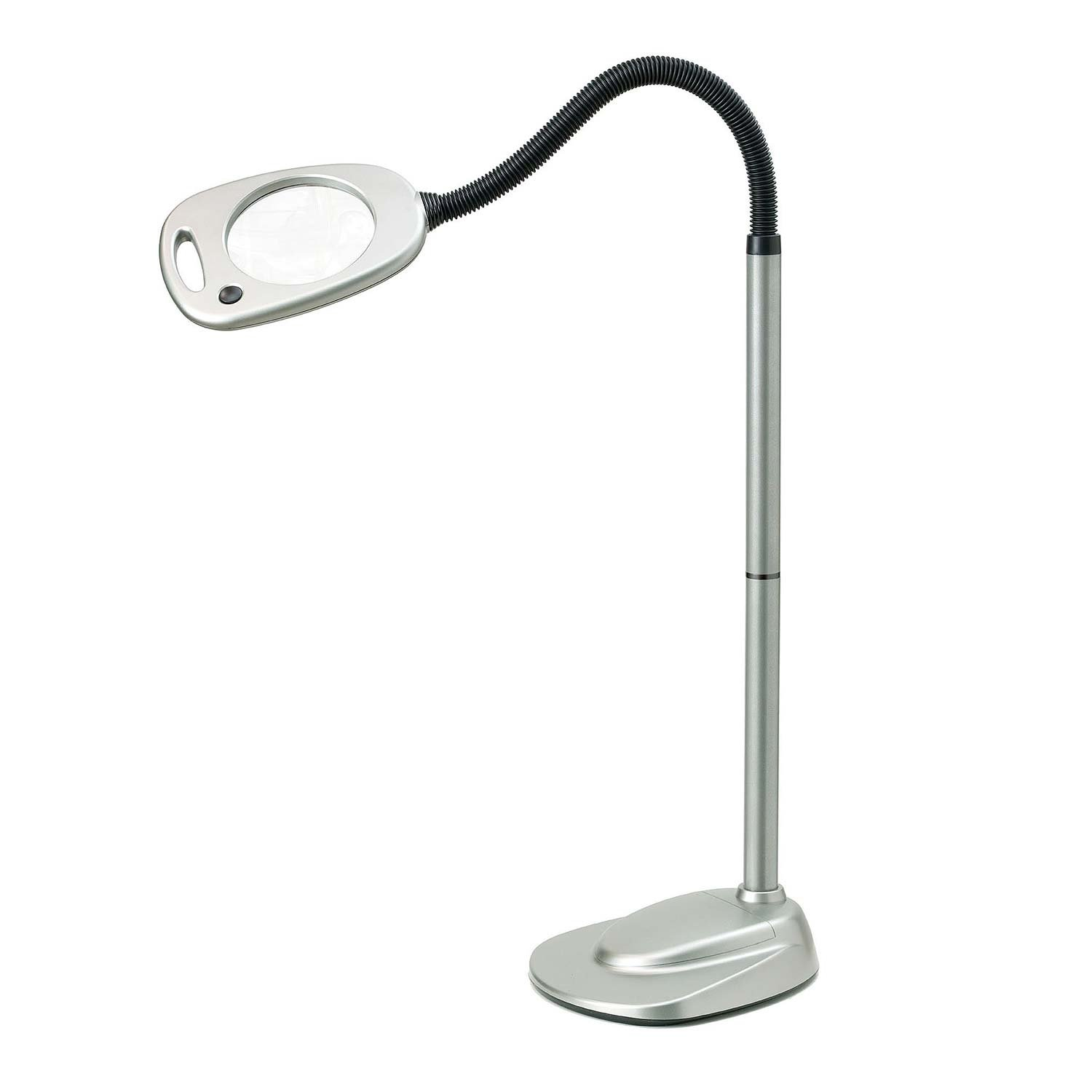 Light It! By Fulcrum 20072-401, 12 LED Wireless Magnifying Floor Lamp with Adaptor, 53 Inch, Silver