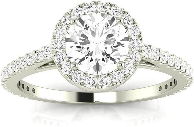 1.6ct Cushion Cut Diamond Halo Split Shank Engagement Ring 18k White Gold Over