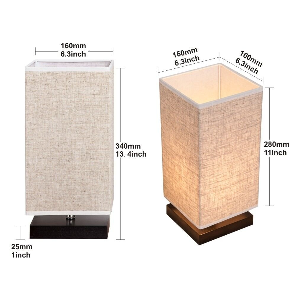 ZEEFO Simple Table Lamp Bedside Desk Lamp With Fabric Shade and Solid Wood for Bedroom, Dresser, Living Room, Baby Room, College Dorm, Coffee Table, Bookcase (square) by ZEEFO (Image #2)