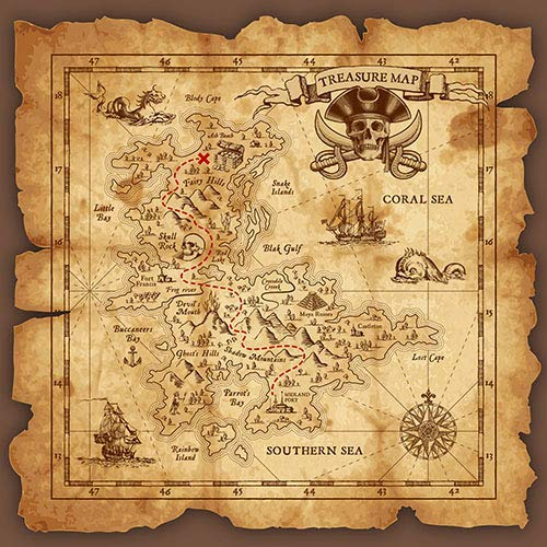 5x7ft Happy Birthday Vintage Pirate Map Quality Vinyl Photo Background Photography Backdrops 1s-01 by NaNa
