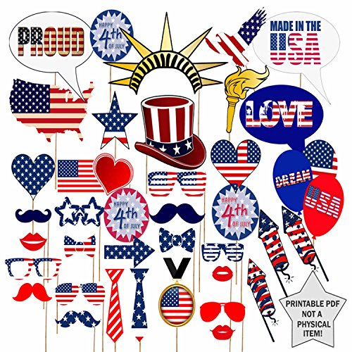 COKOHAPPY 4th of July Photo Booth Props Kit, Independence Day, DIY Pose Sign Party Decoration Supplies - 39 Printed Pieces with Wooden Sticks