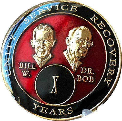 10 Year Founders Red Tri-Plate AA Medallion Bill & Bob Chip ()