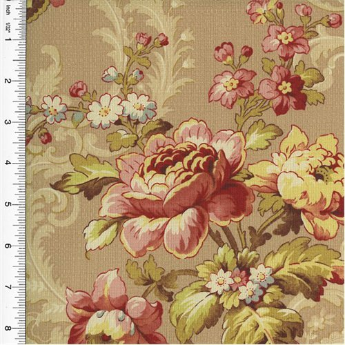 (Designer Blush Pink Cotton Floral Print Decorating Fabric, Fabric By the Yard)