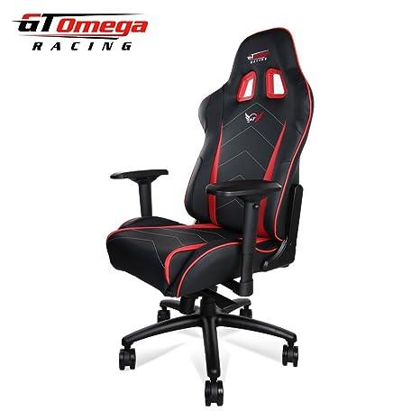 GT Omega Racing Pro XL - Silla de Oficina, Deportiva, Cuero Negro y Rojo Asiento: Amazon.es: Hogar