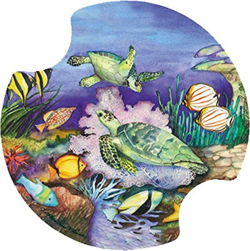 Thirstystone Green Sea Turtles Car Cup Holder Coaster, by Thirstystone