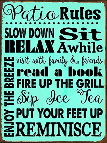Patio Rules Turquoise Metal Sign, Outdoor Living, Patio (Rules Wall Hanging)