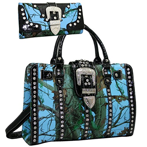 Western Camo Rhinestone Buckle Accent Concealed Carry Gun Satchel Bag With Matching Wallet - Blue - Accent Buckle Womens