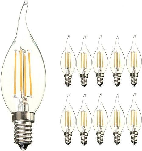 ANKEY 10 Pack E14 C35 Lámpara LED E14 Retrofit Classic, 40W Equivalente a la bombilla, 400LM, Transparente, No regulable, Blanco cálido 2700K, Bombilla LED como linterna: Amazon.es: Iluminación