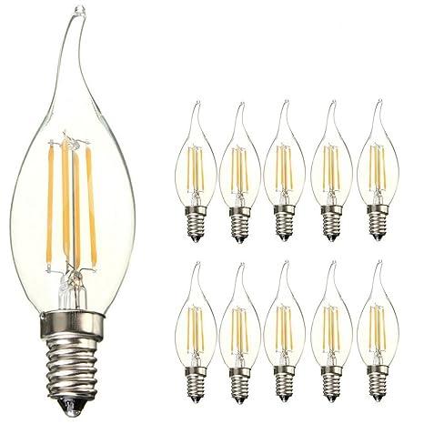Paquete de 10 bombillas LED, E14 SES, con diseño de llama, de 4