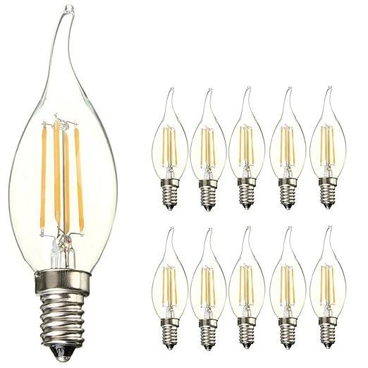 Paquete de 10 bombillas LED, E14 SES, con diseño de llama, de 4 W, blanco cálido, ...