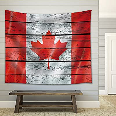 Elegant Piece, Original Creation, Canadian Flag on a Wooden Background