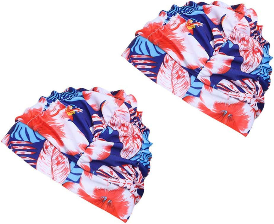 CLISPEED Gorro de Baño de Mujer Estampado de Flores Gorro de Baño Elástico Ducha Gorro de Baño para Piscina de Agua Deportes Accesorio de Protección Auditiva 2 Piezas Rojo