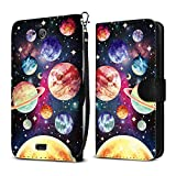 Kyocera Hydro Wave C6740 Air C6745 Case, FINCIBO Ultra Slim Protective Carry Flip Canvas Wallet Pouch Case with Credit Card Holder TPU Cover, Planet Solar System
