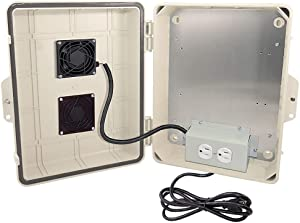 """Altelix Light Ivory Vented NEMA Enclosure 14x11x5 (9"""" x 8"""" x 3.2"""" Inside Space) Polycarbonate + ABS Weatherproof with Cooling Fan, Pre-Wired 120 VAC Outlets, 5 Foot Power Cord"""