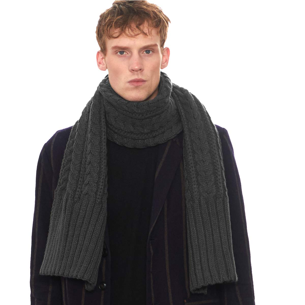 CACUSS Scarf for Men Winter Knit Solid Color Warm Thick Scarf Students Long Trend Casual Infinity Scarf Knitting Trend Scarf Size 70.74×12.58 Inches (Dark gray) by CACUSS (Image #2)
