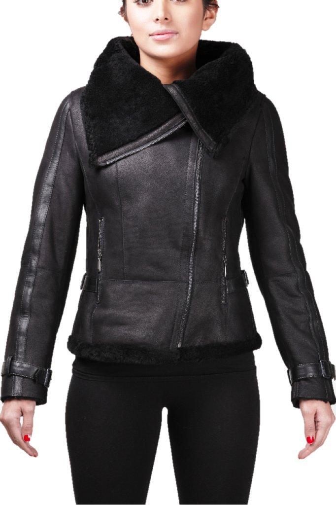 Women's Short Black Vintage Merino Sheepskin Aviator Leather Jacket (UK-10 US-6 )