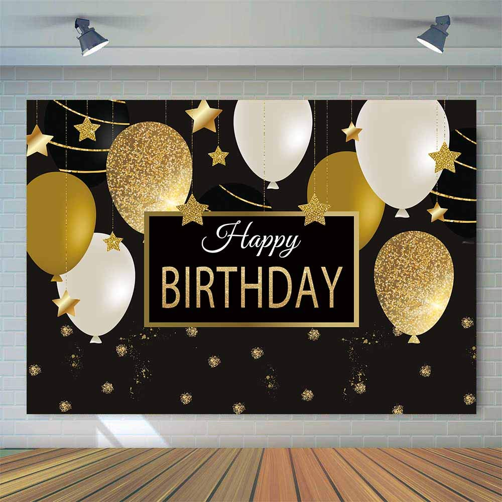 Allenjoy 7x5ft Happy 30th 40th 50th 60th Birthday Backdrop Black Gold Balloons Golden Glittering Sparkling Stars Men Women Bday Party Background Photo Studio Booth Kids Cake Table Banner by Allenjoy (Image #2)